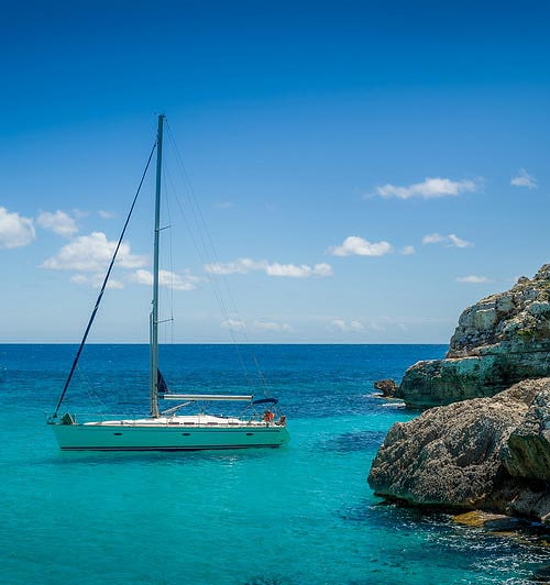 sailing yacht on Mallorca's coast